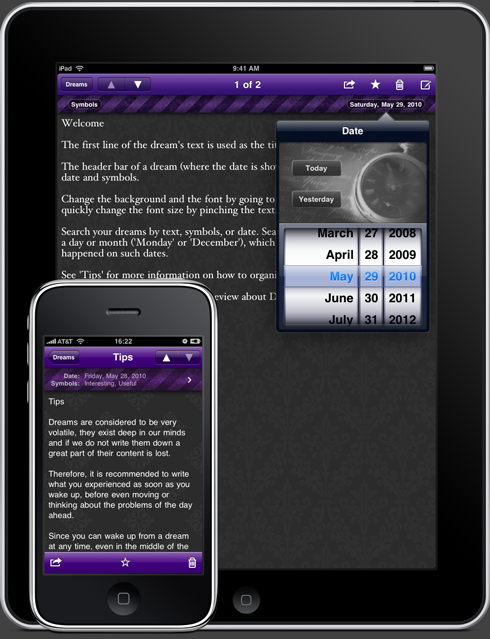 Dream Journal for iPad and iPhone
